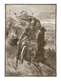 Flight of Pompey from the Battle-Field of Pharsalia (Litho) Giclee Print by  English