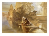 Indian Woman Floating Lamps on the Ganges, from &#39;India Ancient and Modern&#39;, 1867 (Colour Litho) Reproduction proc&#233;d&#233; gicl&#233;e par William &#39;Crimea&#39; Simpson