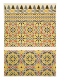 Geometric Ceramic (Faience) Decoration from the Mosque of Cheykhoun, 19th Century (Print) Reproduction proc&#233;d&#233; gicl&#233;e par Emile Prisse d&#39;Avennes