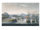 The Squadron under the Command of Sir J. Brisbane Attacking Fort Maurigio, on 12th April, 1814 Premium Giclee Print by Thomas Whitcombe