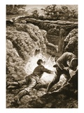 Private Harris Throwing Himself on a Bomb to Save a Comrade (Litho) Giclee Print by Alfred Pearse