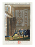 Monsieur De Liancourt (1747-1827) Telling Louis XVI (1754-93) at Versailles Giclee Print by Jean-francois Janinet