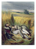 Two Lovers Lying in a Cornfield (Litho) Giclee Print by  French