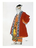 Costume Design for an Old Man in a Red Coat (Colour Litho) Giclee Print by Leon Bakst
