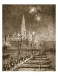 Fugitives from Antwerp Crossing the Pontoon Bridge over the Scheldt (Litho) Giclee Print by Alick P.f. Ritchie