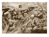 Private Cooke Continues to Fire His Machine-Gun Giclee Print by Howard K. Elcock