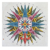 Compass Rose, from a Blaue Atlas, Published in Amsterdam, 1697 (Coloured Engraving) Giclée-Druck von  Dutch