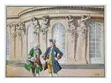 King Frederick and Voltaire (Colour Litho) Giclee Print by Richard Knoetel