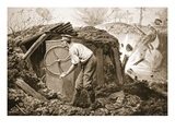 Private Torrance Pumping Air into a Mine under Heavy Fire (Litho) Premium Giclee Print by Alfred Pearse