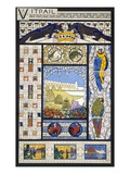 Stained Glass Window Designs, from 'Decorative Sketches', C.1895 (Colour Litho) Giclée-trykk av Rene Binet