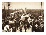 German Bridge Train and an Austrian Marching Column on the Route Between Udine and Codroipo Giclee Print by  German photographer