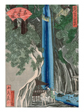 The Waterfall (Colour Woodcut) Giclée-Druck von Katsushika Hokusai