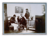 Playing Draughts at Le Relais, Late 19th Century (B/W Photo) Giclée-Druck von Alfred Natanson