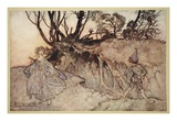 How Now Spirit! Wither Wander You, Illustration from 'Midsummer Nights Dream' Giclee Print by Arthur Rackham