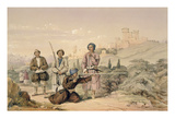Huzzarehs Firing with Juzzaeels, from 'Characters and Costumes of Afghuanistan' Giclee Print by Louis Hague