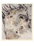This One Is Fat, Said Cuillen, and She Rolled a Bulky Fenian Along Like a Wheel Giclee Print by Arthur Rackham