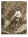 Lance-Corporal Clapson Dragging an Officer, Who Had Been Gassed, Out of a Mine (Litho) Giclee Print by Alfred Pearse