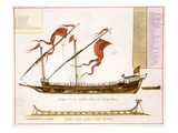 Types of Shipping: a Double-Masted Galley: Section Through, from 'Le Naptune Francois', C.1693-1700 Giclee Print by Pierre Mortier