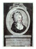 Jeanne De Valois-Saint-Remy (1756-91), Countess De La Motte, C.1786 (Coloured Engraving) Giclee Print by  French