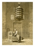 Cairo: Funerary or Sepuchral Mosque of Sultan Barquoq Seated Imam Reading the Koran Reproduction procédé giclée par Emile Prisse d'Avennes