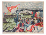 Naval Review at Dunkirk: Tsar Nicolas II with His Wife, Tsarina Alexandra with President Loubet Giclee Print by  Carrey