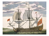 British Navy: a First-Rate Ship Flying the White Ensign; Three-Decker with Admiral's Cabin Giclee Print by Pierre Mortier