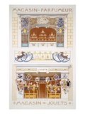 Two Shop-Front Designs: a Perfume Seller&#39;s and a Toyshop, C.1880-95 (Colour Litho) Reproduction proc&#233;d&#233; gicl&#233;e par Rene Binet