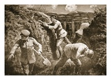 Second-Lieutenant Rochfort Picks Up a Bomb Which Was About to Explode and Hurls it from the Trench Giclee Print by H. Ripperger