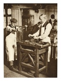 Two Elderly Locksmiths Cutting Key Barrels, from 'Wonderful London', Published 1926-27 Giclee Print by  English Photographer