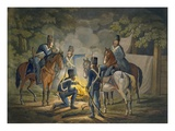 Prussian Hussars on a Night Picket, C.1799-1802 (Colour Litho) Giclee Print by Conrad Gessner