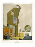 Salon, from 'Repertoire of Modern Taste', Published 1929 (Colour Litho) Gicleetryck av Jacques-emile Ruhlmann