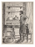 Robinson Crusoe Building Table and Chairs for His Cave Giclee Print by  English