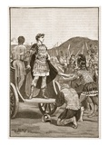Caesar Addressing the Malcontent Legions in the Campus Martius (Litho) Giclee Print by  English