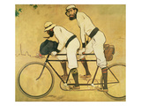 Self Portrait of Casas with Pere Romeu on a Tandem, 1897 (Oil on Panel) Giclee Print by Ramon Casas i Carbo