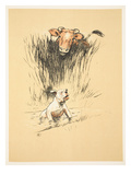 Bull and Dog in Field (Colour Litho) Giclee Print by Cecil Aldin