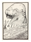The Animal That Came Out of the Sea and Ate Up All the Food Giclee Print by Joseph Rudyard Kipling