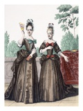 Two Promenade Dresses (Coloured Engraving) Giclee Print by  French