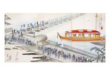 Attending a Festival: Crossing a Pontoon Bridge to the Sacred Site (Colour Woodblock Print) Giclee Print by  Japanese