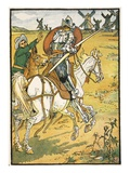 Don Quixote and the Windmills, Illustration from 'Don Quixote of the Mancha' Retold by Judge Parry Giclee Print by Walter Crane