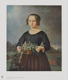 Girl with Floral Basket Collectable Print by Ferdinand Rayski
