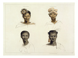 A Bosjeman, a Bosjeswoman, a Booshuana Woman, a Booshuana Man: Four Head and Shoulder Vignettes Giclee Print by Samuel Daniell