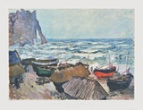 Fishing Boats at Etrétat Reproductions pour les collectionneurs par Claude Monet