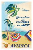 Jamaica & Columbia via Jet Travel c.1960s Reprodukcje