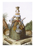 The Basket Weaver's Costume (Coloured Engraving) Giclee Print by Martin Engelbrecht