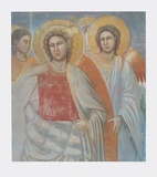 Mary and the Angels (detail of the Last Judgement) Collectable Print by  Giotto di Bondone