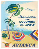 Jamaica & Columbia via Jet Travel c.1960s Wydruk giclee