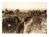 Field Artillery Cross over a Stormed Enemy Trench; Fascine Bundles Fastened to the Gun Carriage Giclee Print by  German photographer