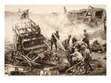 Medical Team Assist their Wounded Comrades in the Midst of Enemy Artilley Fire (B/W Photo) Giclee Print by  German photographer