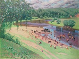 Scenery of a Russian River Collectable Print by  Golljin