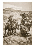 On the Heels of De Wet: Mounted Infantry Attacking a Waggon Train Giclee Print by Sir Frederick William Burton